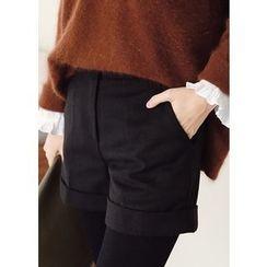 J-ANN - Wool Blend Cuff-Hem Shorts