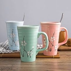 Home Simply - Floral Ceramic Mug with Lid