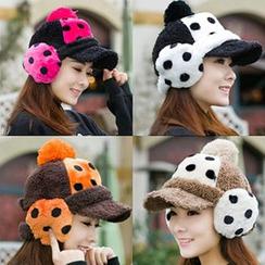 Hats 'n' Tales - Dotted Fleece Ear Warmer Cap