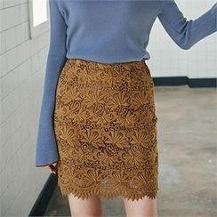 MAGJAY - Zip-Back Laced Pencil Skirt