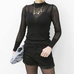 DANI LOVE - Mock-Neck Herringbone Sheer Knit Top