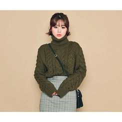 HOTPING - Turtle-Neck Cable-Knit Sweater