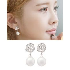 Miss21 Korea - Faux-Pearl Dangled Rose Earrings