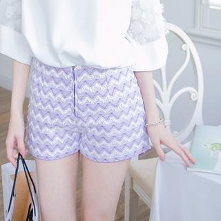 Tokyo Fashion - Chevron-Detail Zip Shorts