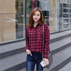 Styleberry - Pocket-Front Gingham Shirt