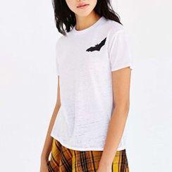 Richcoco - 蝙蝠印花短袖T恤