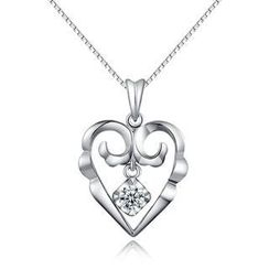 MaBelle - 18K White Gold Heart Dangle Diamond Solitaire Pendant Necklace (0.11 ct) (FREE 925 Silver Box Chain, 16')