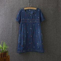Blue Rose - Embroidered Short-Sleeve Denim Dress