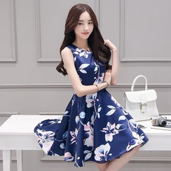 Sienne - Floral Print Sleeveless A-line Dress