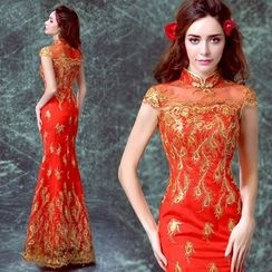 Angel Bridal - Cap-Sleeve Embroidery Cheongsam