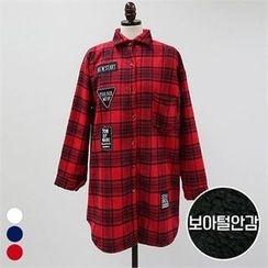 PINKSISLY - Fleece Lined Plaid Long Shirt