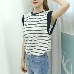 Dodostyle - Stripe Cap-Sleeve T-Shirt