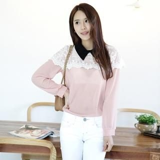 Cocoblanc - Laced-Cape Chiffon Top