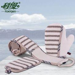 Koeman - 三件套: 条纹搓背条 + 身体搓澡巾 + 洗澡手套