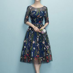 Rosita - Floral Print Elbow-Sleeve Cocktail Dress