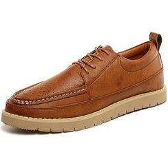 NOVO - Faux Leather Lace Up Boat Shoes