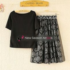Ringnor - Set: Short-Sleeve T-Shirt + Patterned Skirt