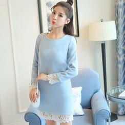 Sofia - Lace Trim Long-Sleeve Shift Dress