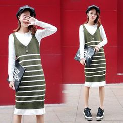 Ekim - Striped Knit Pinafore Dress