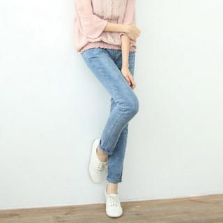 CatWorld - High-Waist Washed Slim-Fit Jeans