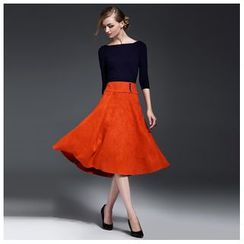 Y:Q - Set: Boatneck Knit Top + Faux-Suede A-Line Skirt