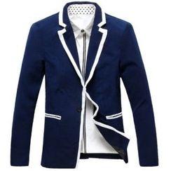 Aozora - Contrast Trim Buttoned Blazer