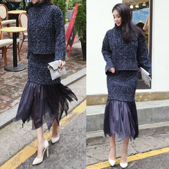 Seoul Fashion - Set: Turtle-Neck Mélange Top + Band-Waist Tulle-Hem Skirt