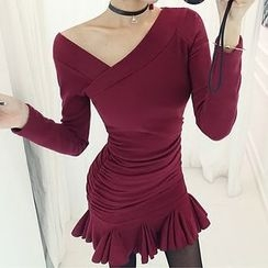 Wild Ivy - Long Sleeve Asymmetrical Neckline Godet Dress