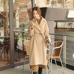 Cherryville - Open-Front Wool Blend Coat with Sash
