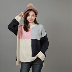 Styleberry - Mock-Neck Color-Block Wool Blend Sweater