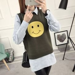 anzoveve - Smiley Mock Two-Piece Striped Shirt
