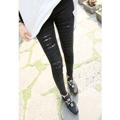 REDOPIN - Distressed Lace-Trim Skinny Pants