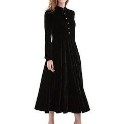 Isadora - 長袖飾鈕扣A字連衣中裙