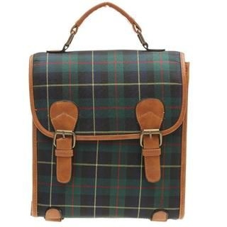 HSTYLE - Buckled Plaid Backpack