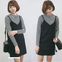 RUI - Set: Striped T-Shirt + Jumper Skirt