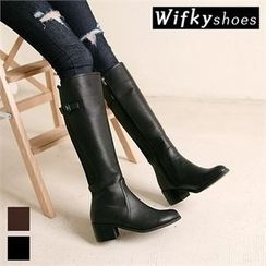 Wifky - Chunky-Heel Faux-Fur Lined Tall Boots