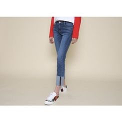 Envy Look - Cuff-Hem Washed Slim-Fit Jeans