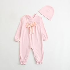 MOM Kiss - Baby Bow Jumpsuit with Cap