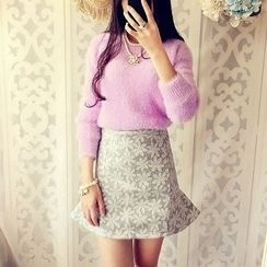Cobblestone - Long-Sleeve Furry-Knit Top