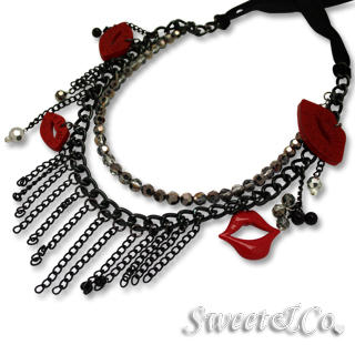 Sweet & Co. - Glitter Red Sexy Kisses Chic Ribbon Necklace
