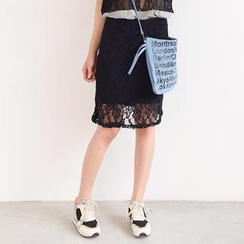 59 Seconds - Lace Overlay Midi Skirt