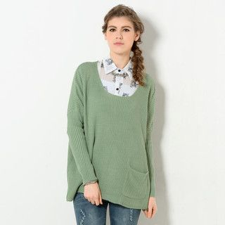 YesStyle Z - Drop Shoulder Scoop Neck Sweater