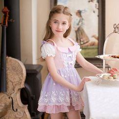 糖果雨 - 小童刺繡短袖連衣裙