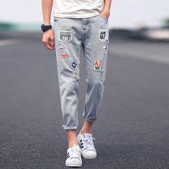 百高 - 貼布繡做舊牛仔褲