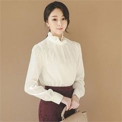 ode' - Frill-Neck Lace-Trim Top
