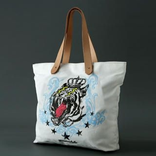 Dreamcoholic - Genuine Leather Handle Tiger Print Tote Bag