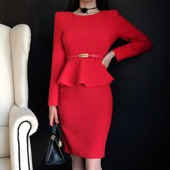 Clospace - Long-Sleeve Peplum Dress