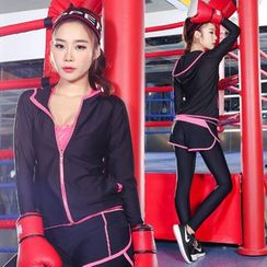RITMO - Set: Sports Hooded Zip Jacket + Inset Sports Shorts Leggings