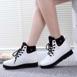 Solejoy - Fleece-Lined Lace-Up Ankle Boots