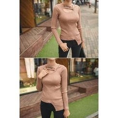 migunstyle - Cutout-Front Ribbed Knit Top